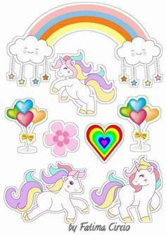 Unicornio Unicorn Birthday Parties, Unicorn Party, Girl Birthday, Tumblr Stickers, Cute Stickers, Frozen Cake Topper, Cake Toppers, Unicorn Pictures, Unicorn Cake Topper