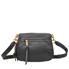 e0e596cb3e The MARC JACOBS black Black) Recruit shoulder bag with a removable  adjustable shoulder strap is made with calfskin.