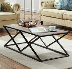 O&K Furniture Industrial Coffee Table for Living Room, Modern Cocktail Table With X Metal Legs, Vintage - Couchtisch Welded Furniture, Iron Furniture, Steel Furniture, Industrial Furniture, Luxury Furniture, Furniture Design, Industrial Metal, Furniture Makers, Industrial Living
