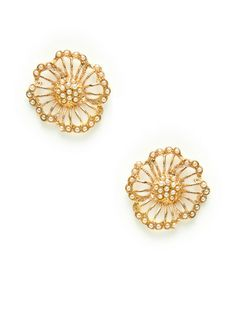 Gold Cutout Flower Stud Earrings by Azaara Vintage at Gilt