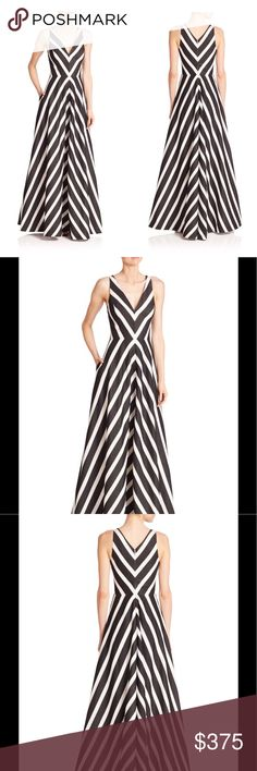 Halston Heritage Vneck Striped Ball Gown, Size 2 Halston Heritage ball gown in mitered stripes. V neckline and back. Sleeveless; tapered straps. Full A-line silhouette. Hem hits floor. Rayon/nylon/polyester/metallic. Lining: polyester. Dry clean. Imported. Halston Heritage Dresses Maxi