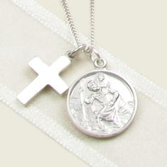 Templeton & May Sterling Silver St. Christopher & Cross Necklace for Christenings Christening Gifts For Boys, Boy Christening, Christopher Cross, Saint Christopher, Silver Necklaces, Jewelry, Jewlery, Jewerly, Schmuck