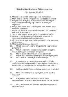 (DOC) Mikszáth Kálmán: Szent Péter esernyője házi dolgozat kérdések | Szilvia Dömök - Academia.edu