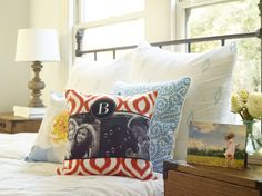Add some color to the bedroom with Shutterfly pillows. #shutterflydecor #homedecor