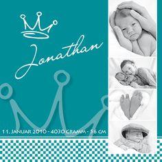 Einladungskarten - Karte zur Geburt - Krone - ein Designerstück von Druckkopf bei DaWanda
