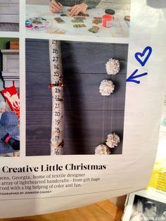 Snow Stick  This little snowfall measuring stick (from Martha Stewart Living Magazine) is so stinkin' cute – and such an awesome craft for the kiddos.  Next walk in the woods, I'll have the boys look for the perfect stick and we'll be making this to measure the snow on our deck (which is pretty substantial this year).
