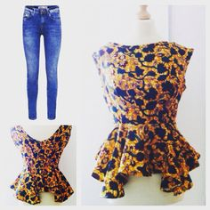 Tina African print / African print tops/ ankara / wax cloth/ african clothing/ peplum top/ custom made