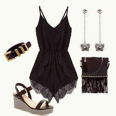 How to Chic: BLACK LACE ROMPER - OUTFIT SET