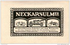 Original-Werbung/Inserat/ Anzeige 1910 : NECKARSULMER FAHRRADWERKE NSU  ca. 90 x 160 mm