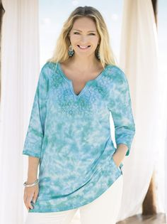 Plus Size Womens Clothing - Kona Tie Dye Knit Tunic