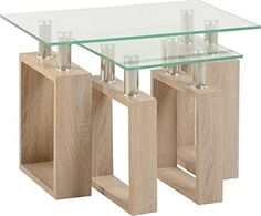 Home Essentials Milan Nest of Tables in Sonoma Oak Effect Veneer/Clear Glass/Silver Product Materials GLASS MDF VENEER METAL Extra Information TOP THICKNESS 8MM LARGE LEG THICKNESS 100MM SMALL LEG THICKNESS 70MM TUBE THICKNESS 40MM (Barcode EAN = 5060357103477). http://www.comparestoreprices.co.uk/december-2016-6/home-essentials-milan-nest-of-tables-in-sonoma-oak-effect-veneer-clear-glass-silver.asp