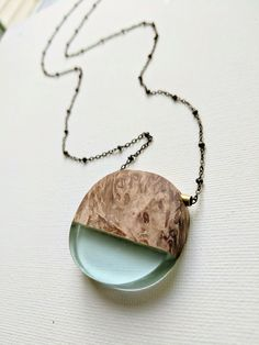 Circular Light Blue Resin and Wood Necklace – Muro Jewelry