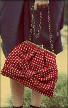 Polka dot bow bag by Sweetcase.http://mysweetcase.blogspot.gr/