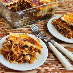 Healthier Baked Whole Wheat Spaghetti Casserole with Turkey Italian Sausage and Mozzarella; because sometimes only a comfort-food dinner will satisfy you! [from KalynsKitchen.com] #HealthyCasserole