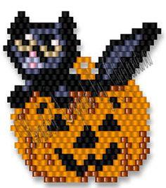 Pumpkin Cat Bead Pattern at Sova-Enterprises.com