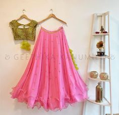 Gorgeous pink color lehenga and pista green color designer blouse with hand embroidery zardosi work.