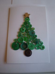 DIY Christmas Card Designs - Green and brown button tree with gold star and gold circle stickers as baubles - Happy Christmas Upcycle Craft Card Design Ideas
