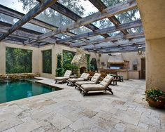 Classic Ivory Tumbled Pavers, Mediterranean Patio, Tampa
