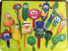 DIY @VeggieTales puppets. Printed pictures cut out & crazy glued onto craft sticks. My son LOVES them!