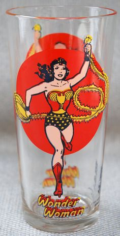 "Vintage 1976 Pepsi Super Series Wonder Woman by SoftFocusVintage when I was a little girl I loved to run down the street in my wonder woman underpants shouting ""wonder woobie ""! Wonder Woman, Marvel Dc, Cartoon Glasses, I Am Batman, Batman Robin, Superman, Best Cosplay Ever, Linda Carter, Pepsi"