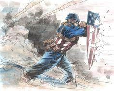Captain America by Khoi Pham Comic Book Characters, Comic Books Art, Comic Art, Marvel Art, Marvel Heroes, Steve Rogers, Chris Evans, Captain America Art, Arte Nerd