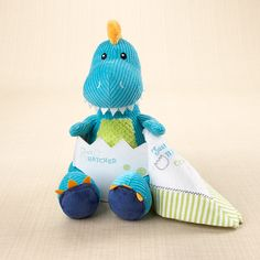 """Just Hatched"" Plush Dinosaur and Lovie  Favor Couture Sally Wilson Shops  http://www.favorcouture.theaspenshops.com"