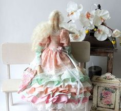 Куклы Тильды ручной работы. Ярмарка Мастеров - ручная работа. Купить Цветочная фея. Handmade. Кремовый, подарок девушке, хлопок