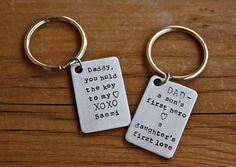Personalized Stainless Steel Key Chain - Custom Key Chain for Dad, Grandpa, Groomsmen, Teacher, Coach's Gift, Father's Day, Graduation Gift