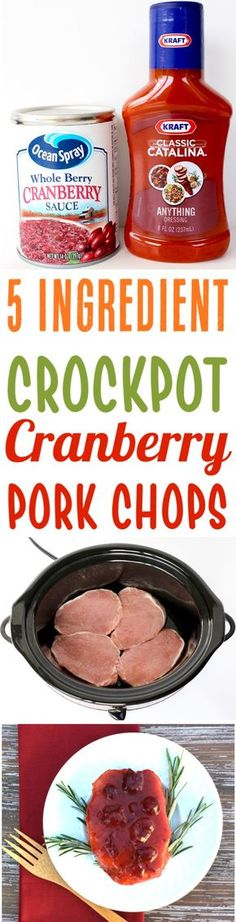 Crockpot Pork Chops Recipes! This Easy 5 Ingredient Cranberry Pork Chop Recipe will be a family favorite... simple to make and SO delicious. Add it to your menu this week!