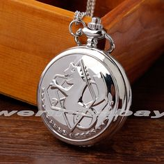 Fashion Small Fullmetal Alchemist Quartz Silver Pocket Watch with Necklace Chain Men Women Stainless steel relogio de bolso