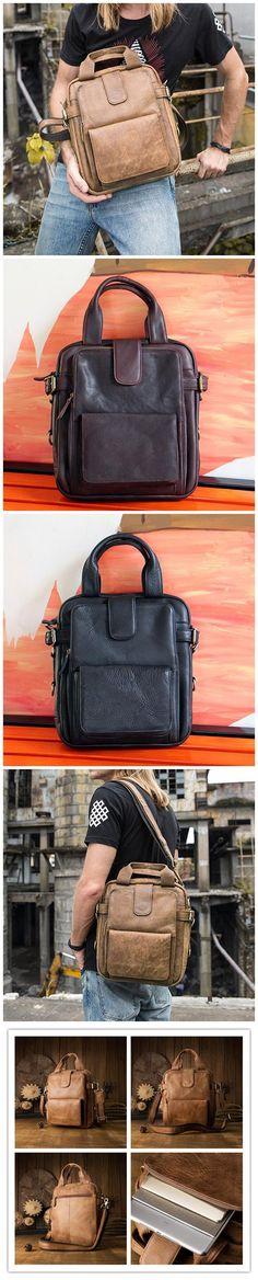 Handmade Men Tote Bag Retro Shoulder Bag Full Grain Leather Messenger Bag JD6831