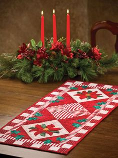 "When made in any Christmas fabric, this pattern is stunning and will become the best centerpiece for your table you've ever had! Finished size is 31 1/2"" x 13 7/8""."