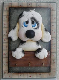 Dog: good idea for cake. Polymer Clay Projects, Diy Clay, Tole Painting, Fabric Painting, Clown Party, Polymer Clay Animals, Cute Clay, Stained Glass Patterns, Foam Crafts