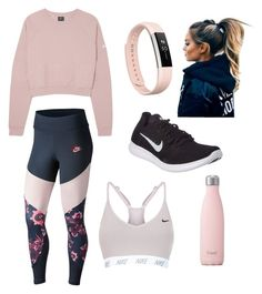 """Fitness in Pink"" by yoitsleann on Polyvore featuring NIKE, S'well and Fitbit"