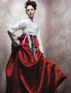 Hanbok wedding dress-LOVE this Hanbok, white with the red; Korean Traditional Dress, Traditional Dresses, Korean Dress, Korean Outfits, Hanbok Wedding, Model Rok, Modern Hanbok, Korean Wedding, Red Wedding Dresses