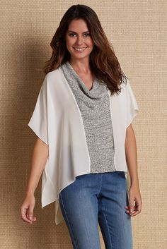 Highly chic Euro styling pairs our Firenze Flutter Top with a drapey cowl front of soft, tweedy reverse jersey knit with floaty, sheer chiffon.