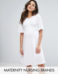 #ASOS - #Gebe Maternity Gebe Maternity Nursing Swing Dress With Tie Front Detail - White - AdoreWe.com