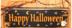 Happy Halloween Sign Hand Painted Ghosts Wood by CarolAnnsTole Happy Halloween Pictures, Halloween Quotes, Halloween Signs, Fall Halloween, Halloween Crafts, Halloween Decorations, Christmas Crafts, Painted Signs, Hand Painted