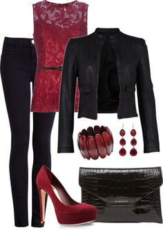 """Leather and Lace"" by averbeek on Polyvore"