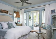 coastal bedroom | Georgia Carlee. Very cool. White with blue trim.