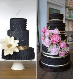 Creative Wedding Cakes with Striking Details! Left: Photo by Cindy Gannon Photography; Right: Wedding Cake by Bobbette & Belle Artisanal Pastries