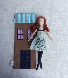 """Soft doll in bag, Handmade cloth doll, doll set, play set, soft doll, 13"""" doll, rag doll, travel toy, doll in bag"""