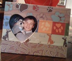 Mod Podge Picture Frame for Fathers day! Made with Dog themed scrapbook paper, mod podge and wood frame from joannes