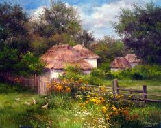 Ольга Николаевна Одальчук - Olga Odalchuk Autumn Scenes, Modern Landscaping, Modern Artwork, Science And Nature, Pretty Pictures, Ukraine, Amazing Art, Landscape Paintings, Watercolor Art