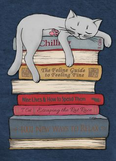 Draw Cats How to Chill Like a Cat Art Print. by Micklyn - Crazy Cat Lady, Crazy Cats, Image Chat, Cat Art Print, Like A Cat, Cat Drawing, Book Worms, Cats And Kittens, Cute Cats