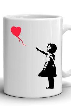 Girl with a balloon/Banksy print mug/Сoffee mug/Work mug/Office mug/Banksy print/Best Birthday gift/Present/Best gift to friend Mug Crafts, Best Birthday Gifts, Banksy, Different Colors, No Response, Print Design, Balloons, Best Gifts, Presents