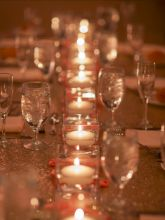 Champagne Sequin Tablecloths sparkly table cloths add such elegance to wedding reception - love the dancing candlelight reflecting off the sequins