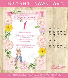 Peter Rabbit First Birthday Party Invitations Peter Rabbit Birthday Party Invites with Pink and Yellow Flowers Beatrix Potter 0071A-P by TppCardS #tppcards #printable #invitations