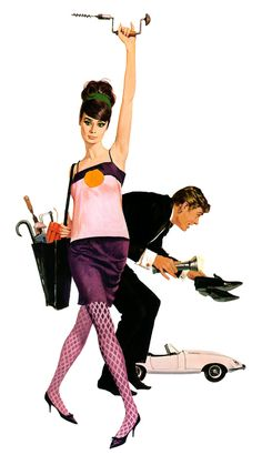 Illustration Robert McGinnis Audrey Hepburn Peter O'Toole How to Steal a Million Robert Mcginnis, Pulp Fiction Art, Pulp Art, Pin Up, Peter O'toole, Grafik Design, Old Movies, Up Girl, Oeuvre D'art