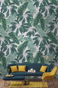 Travel to the tropics with this wonderful leaf wallpaper design. Cheerful illustrative leaves bring an exotic feel to your home, while the vivid greenery brings your interiors to life! Ideal for playful yet modern living spaces. Living Room Color Schemes, Living Room Colors, Living Room Designs, Living Spaces, Living Rooms, Colour Schemes, Colour Palettes, Apartment Living, Living Room Paint
